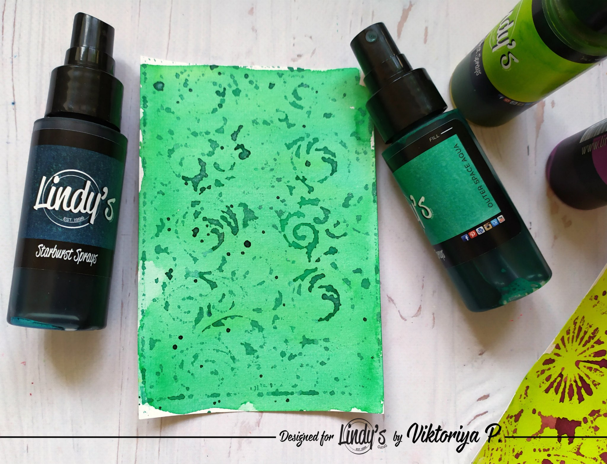 Make a Background with Lindy's Sprays and EP using Embossing Folders with Viktoriya P.