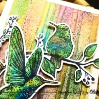 Postcard with Bright Background with Birds using Lindy's Squirts