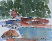 Orange rocks- watercolour