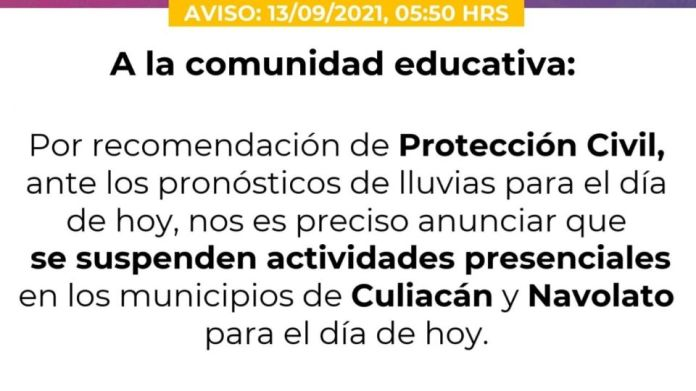 Attention!  Due to heavy rains, the SEPyC suspends classes in Culiacán and Navolato
