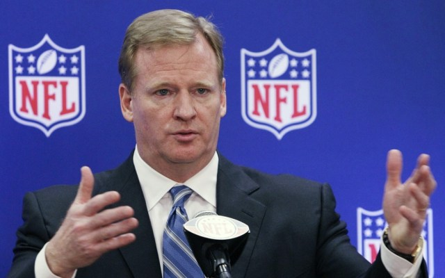 """Roger Goodell says words, talks about things with reporters Wednesday."" - (AP Photo)"