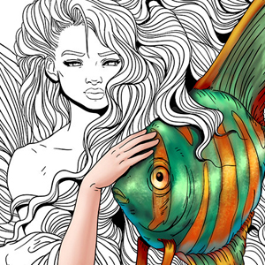line artsy purchase mermaid fish adult coloring page
