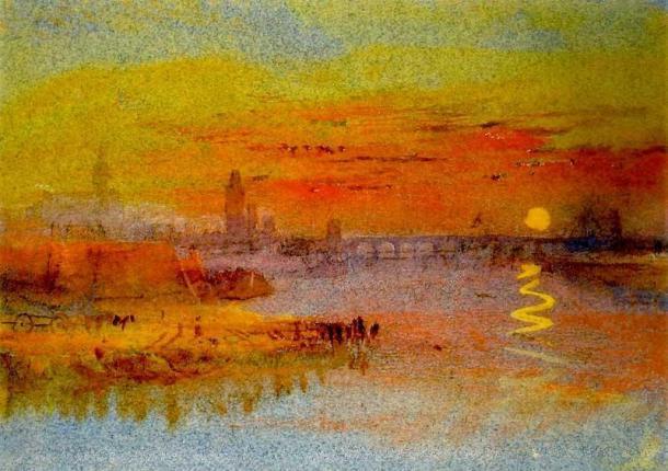 Turner Una ciudad a orillas de un río en el crepúsuclo circa 1833