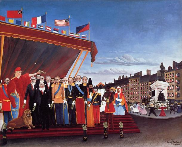 """Rousseau """"Los representantes de las potencias extranjeras saludan al Presidente de la República en señal de paz"""" (1907)."""