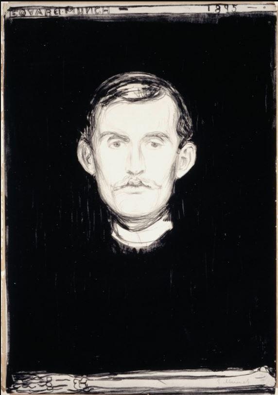 Munch autorretrato con antebrazo de esqueleto 1895 litografía