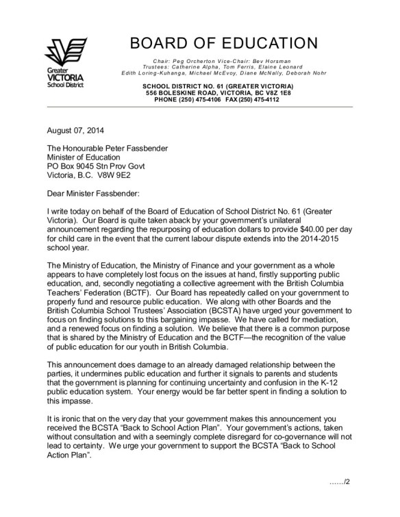 2014 Aug 7 1 Greater Victoria  SD61 to P.Fassbender-- bargaining, de Jong $40 proposal, Back to School Action Plan