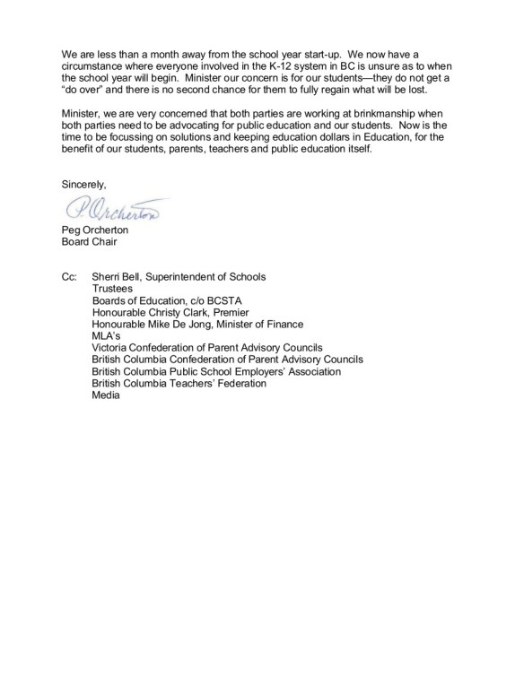 2014 Aug 7 2 Greater Victoria   SD61 to P.Fassbender-- bargaining, de Jong $40 proposal, Back to School Action Plan