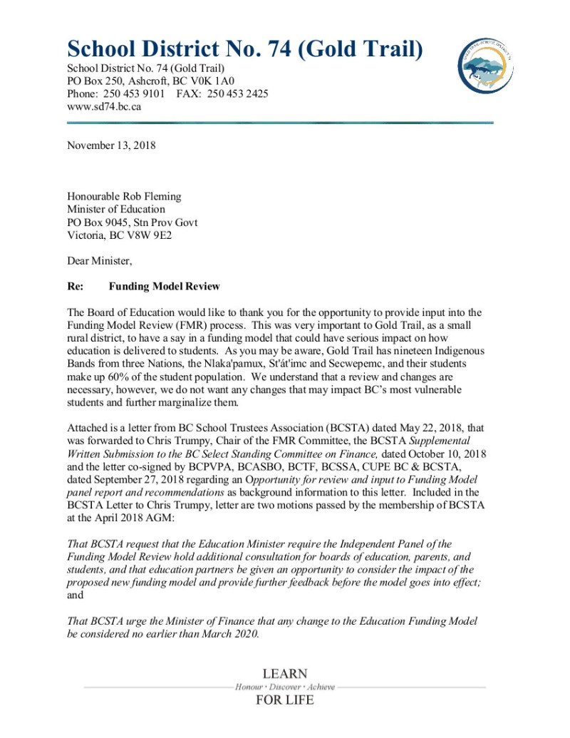 2018-11-13 VAdrian SD74 to MoE Fleming re FMR 1