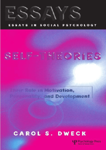 Self Theories: Their Role In Motivation, Personality, And Development Ebook