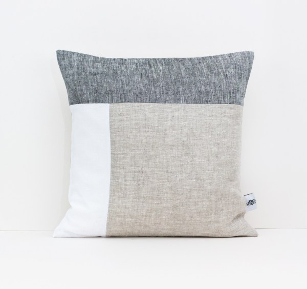 Color Block Pillow in Dark Gray White and Beige Geometric Cushion Linen throw pillow Decorative cushion case Eco friendly linen 1 1