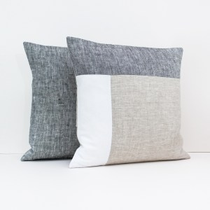 Color Block Pillow in Dark Gray White and Beige Geometric Cushion Linen throw pillow Decorative cushion case Eco friendly linen 2 1