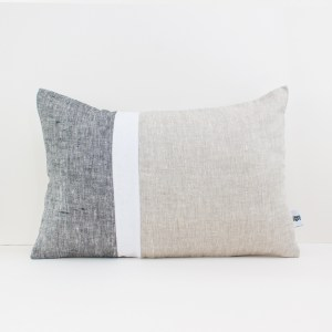 Geometric Cushion in Dark Gray White and Beige Color Block Pillow Linen throw pillow Decorative cushion case Lumbar pillow 1