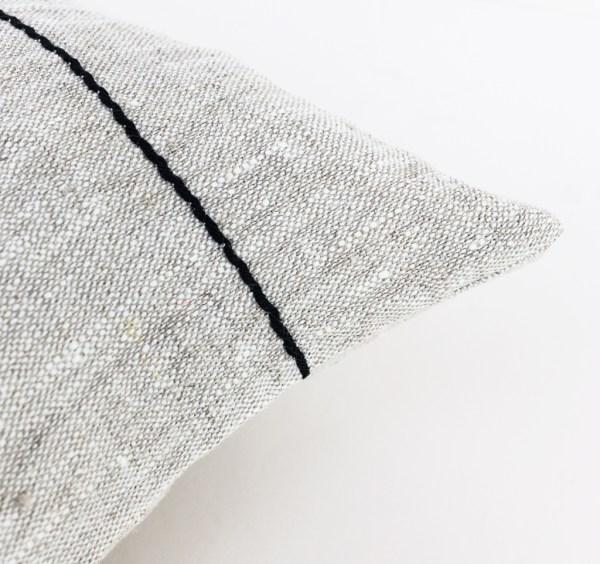 Linen pillow cover with black lines Linen cushion Black stripe pillow Linen throw pillow Decorative cushion case Eco friendly 2