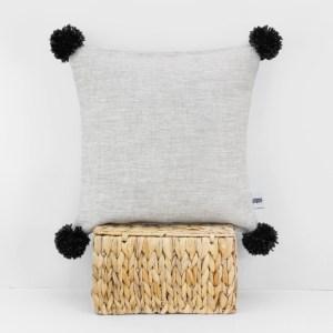 Pom pom cushion Linen cushions Mustard Yellow decor Throw pillows Linen pillow cover Pillow shams European pillow case 1 black