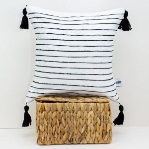 White linen throw pillow with Black stripes Scandinavian modern Black and white pillow Linen pillow Tassel cushion Pom pom pillow 1