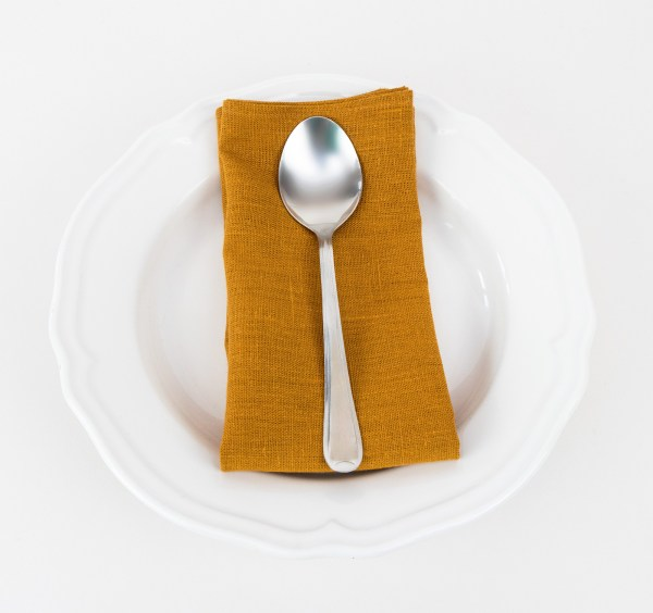 linen and stripes napkin mustard5