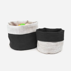 linen basket linen and stripes1 black