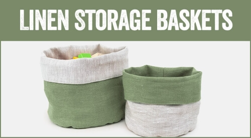 linen and stripes category baskets