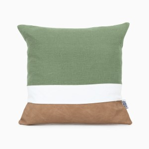 geometric moss green linen and stripes cushion cover