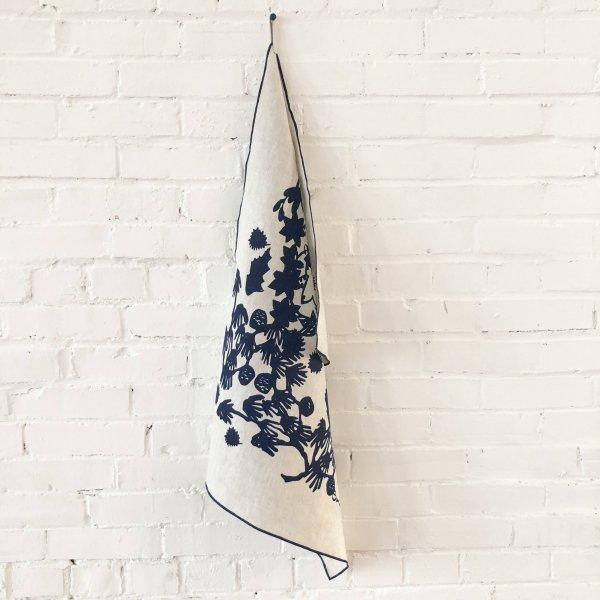 Erin Flett - Navy Deep Woods Linen Tea Towel