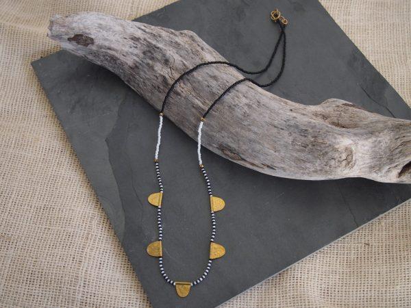 Amsha - Mwezi Necklace: B & W