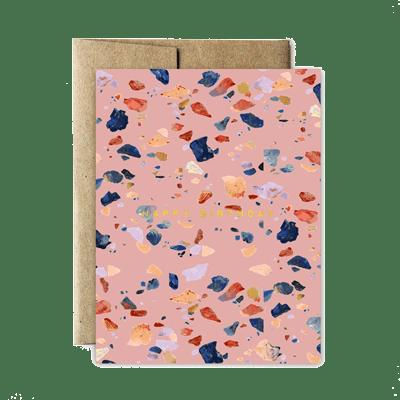 Ferme à Papier - Foil Pink Terrazzo Birthday Card