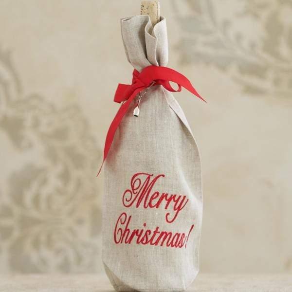 Crown Linen Designs - Merry Christmas Linen Holiday Wine Bag