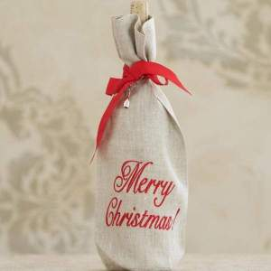 Crown Linen Designs - Merry Christmas Linen Holiday Wine Bag