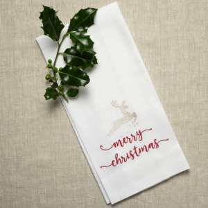 Crown Linen Designs - Deer with Merry Christmas Towel
