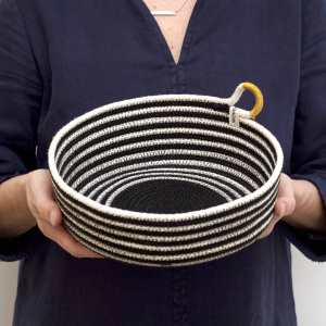 Woven Grey - Happy Striped Table Basket
