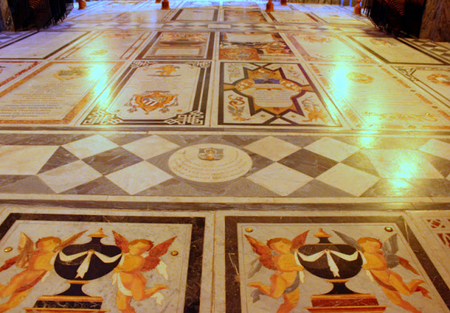 Marble slabs inside Victoria's cathedral