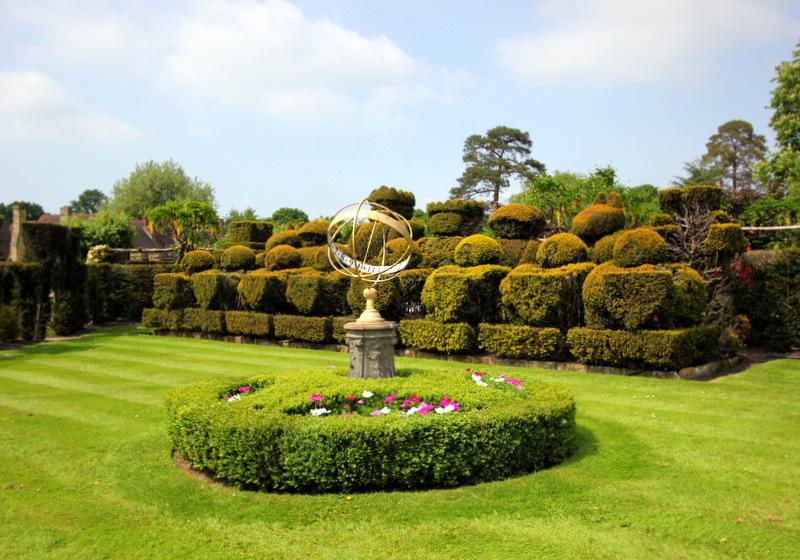 Giant topiary chesspieces in the Tudor garden.