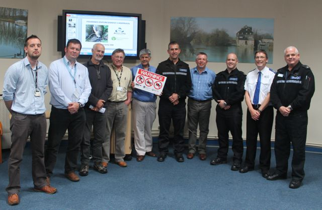 5.The East of England Fisheries Enforcement Workshop was another great success and step forward; from left: Tom Howard and Adrian Saunders (both of the EA), Mick Brown, Kevin Summerson (EA) and Dilip Sarkar, with police officers from the National Wildlife Crime Unit, Cambridgeshire, Lincolnshire and Northamptonshire Police.