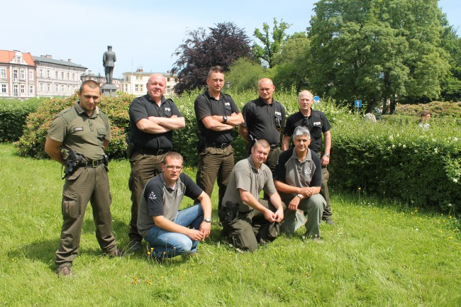 Yours truly and Rado with armed PSR fisheries enforcement officers in Koszalin, Poland, 11 June 2014.