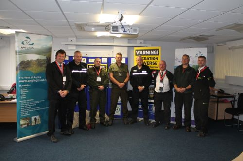 Adrian Saunders (left), a Senior Advisor in the Environment Agency's Incidents & Compliance Fisheries Team, with police officers, local fisheries enforcement staff and our Polish PSR guests.