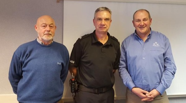 NE REM Giles Evans with PC Darrell Brown, Beat Manager for Durham, and Terry Waddle, Head Bailiff and Vice-Chairman of Durham City Angling Club, with whom he met regarding issues on the river Wear: 'Plenty of plans in the pipeline'..
