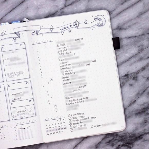 A very long to do list in my bullet journal.