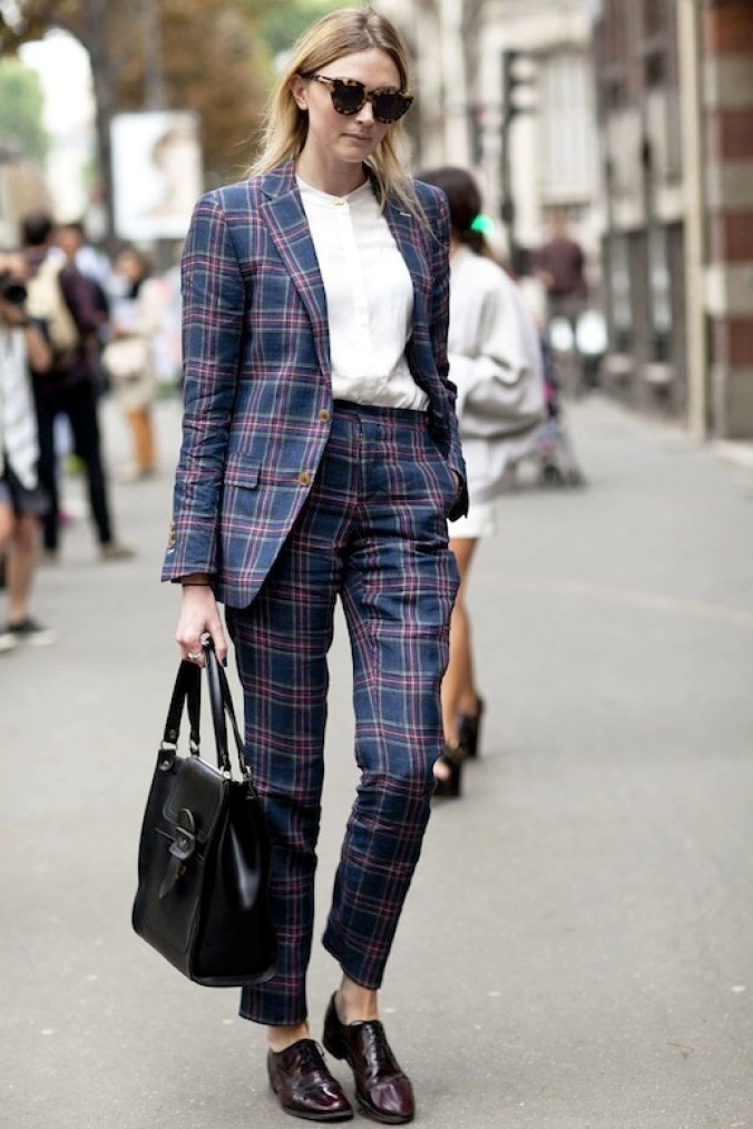 le-fashion-blog-street-style-pfw-contrasting-sunglasses-tartan-suit-white-collarless-button-down-shirt-leather-tote-bag-burgundy-oxfords-via-popsugar