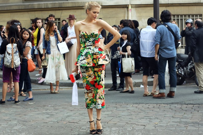 elena-perminova-fall-2012-haute-couture-fashion-show-floral-outfit-pencil-skirt-peplum-top-street-style