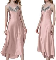 Women's Nightdress Lace Satin Nightgowns Long Chemise Sleepwear. Sexy low v-neck with lace detail makes you mo re feminine, charming and chic. Fri, 27 Aug 2021 06:01:03 +0400
