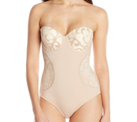 Women's Molded Cup Lace Bodysuit. Does not offer as much support as I would like but the shape is very feminin e and practical. The straps are removable and it has an opening on the bottom part which is a must when you need to use  the toilet. The fabric at the upper section is lace and delicate. I would recommend hand wash and cold air dry. Sat, 25  Sep 2021 18:01:09 +0400