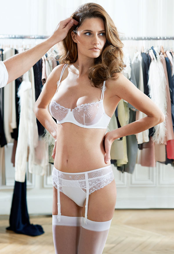 New Delice Demi Cup, Thong and Suspender Belt in White Simone Perele 2014