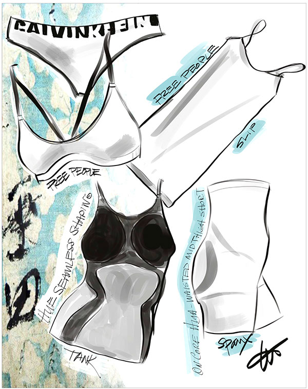 Free People Slip, Hue Seamless shapping & Spanx Hi waisted mid thigh short sketched by Tina Wilson on Lingerie Briefs