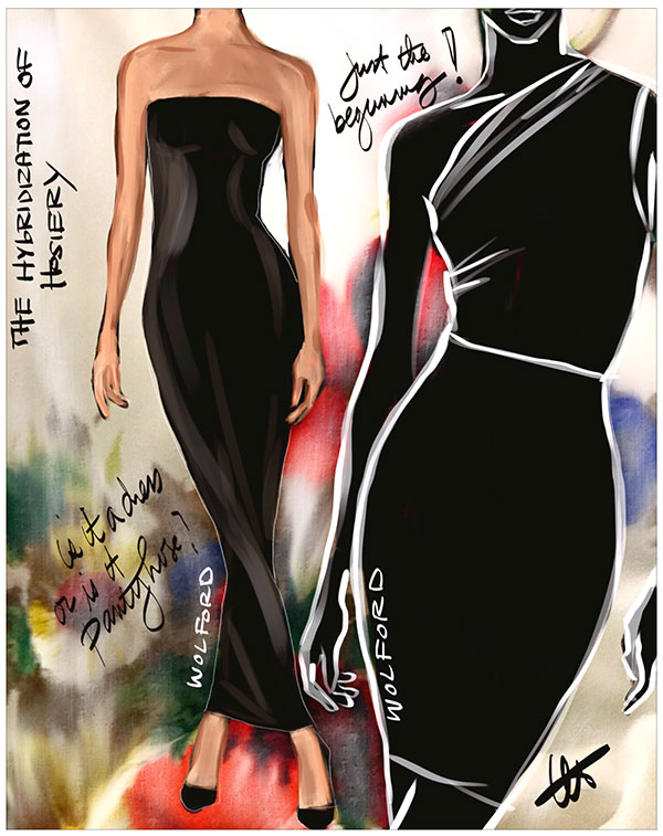 Wolford fashions sketched by Tina Wilson for Lingerie Briefs