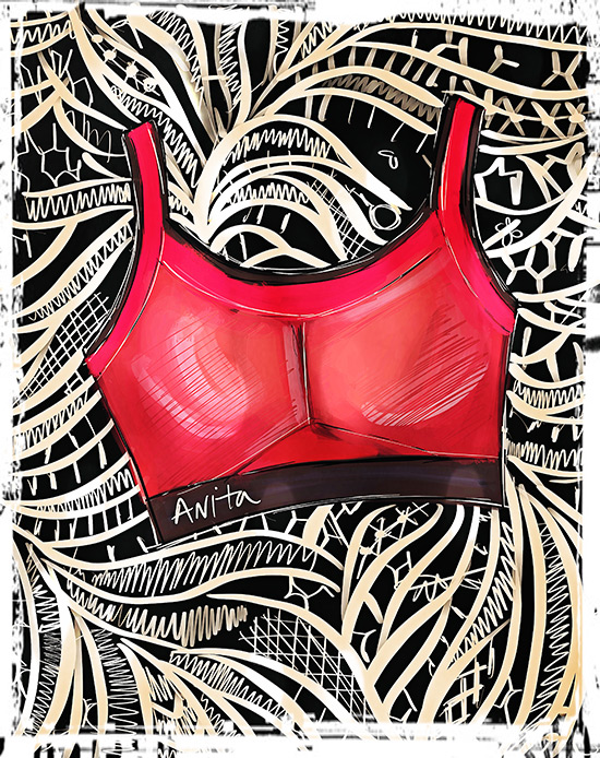 Anita Sports Bra Fashion Illustration by Tina Wilson on Lingerie Briefs