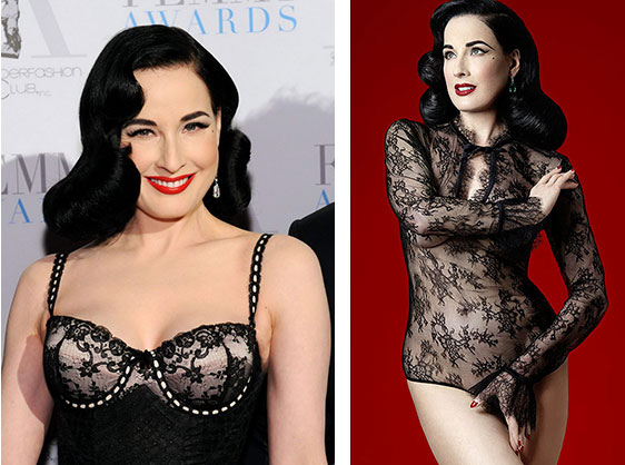 Dita Von Teese hosting the 2016 femmy awards and Dita Von Teese wearing the Miss West bodysuit on Lingerie Briefs