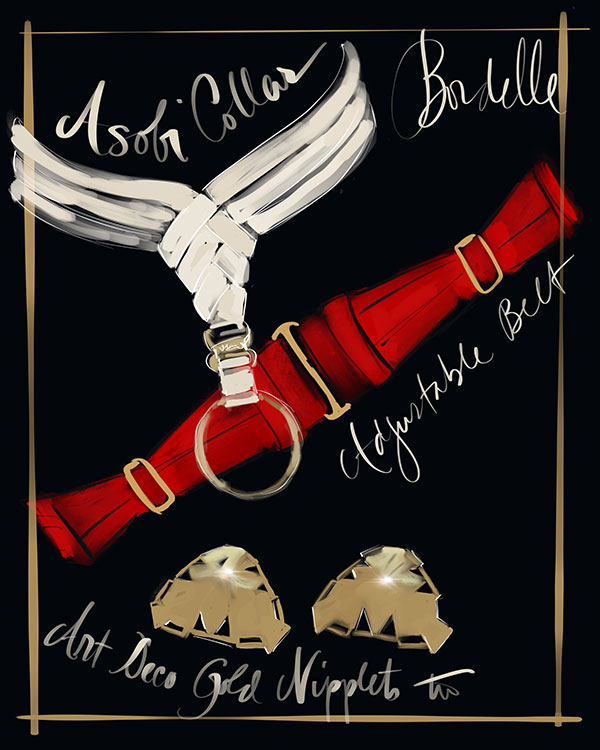 Bordelle Bondage on Lingerie Briefs illustrated by Tina Wilson