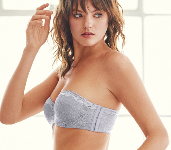 B.ENTICING UNDERWIRE STRAPLESS BRA - Lilac Gray