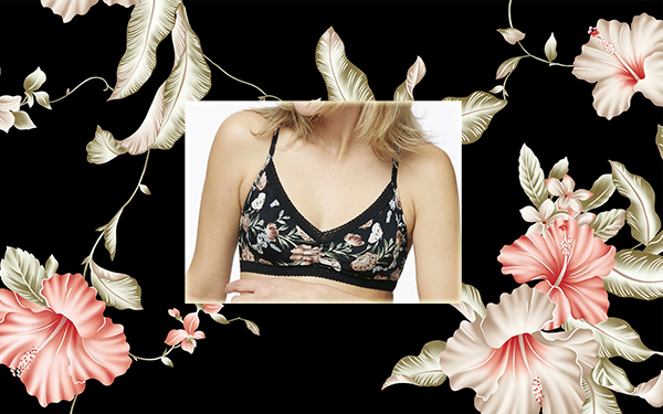 Clarence House wallpaper print framing Blush Micro Floral bralet on Lingerie Briefs