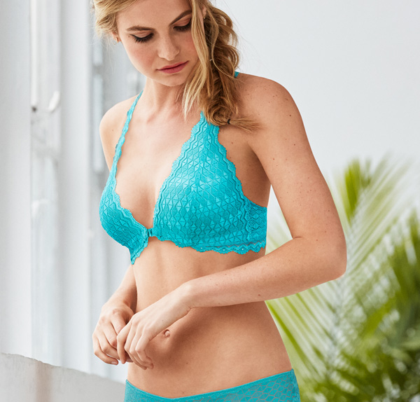 b.tempt'd Love Triangle Collection in peacock featured on Lingerie Briefs